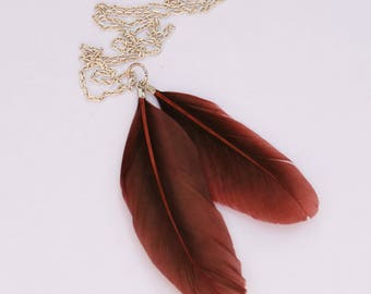 Bohemian Feather Necklace // Long Chain Necklace w/ Brown Feathers // Handmade in England
