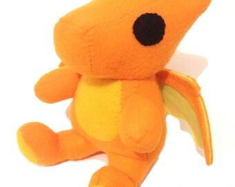 Handmade Charizard Plush, Unofficial Handmade Item, Pokemon Plush, Charizard Chibi Plush, Dragon Stuffed Doll, Orange Dragon Plush