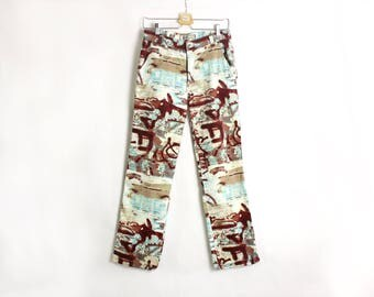 Vintage 90's Abstract Print White Blue Brown Pants