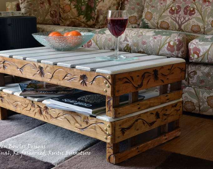 Country Cottage Rustic Reclaimed Wood Coffee Table with Decorative Carving & Bronze Tacks Handy Under Shelf Storage