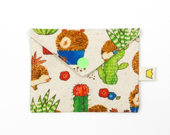 "Hedgehog and cactus coin pouch, stitch marker pouch, 9"" circular needle storage"