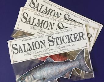 "Vinyl salmon sticker, giant 8"" sticker of king, sockeye, coho, chum or pink salmon"