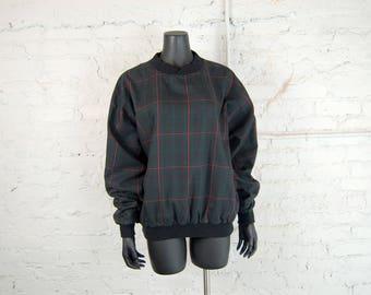 Vintage 1990s Proquip Plaid Pullover Golf Jacket / Windbreaker (M) / Black-Navy, Red, Green