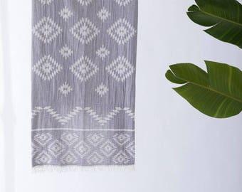 Turkish Towel Gray | Tribe Beach Towel Tribal Design Aztec Towel Hammam Towel Yoga Throw  Cotton Towel Fouta Spa Towel Pool TRT03