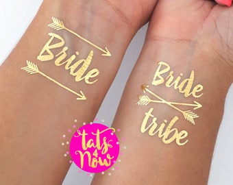 Bride tribe tattoo, bachelorette party, gold tattoo, bachelorette party favor, gift for bridesmaid, bachelorette tattoos