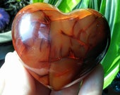 LARGE CARNELIAN HEART- 1/4+Lbs, 2 1/4'' Healing, Chakra,Crystal Magic, Positive Action, Manifestation, Altar, Witch,Reiki, Yoga, Zen 22.00US