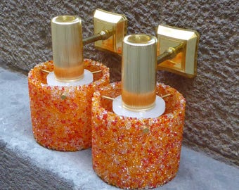Set of 2 Plastic Sconces or Wall Lamps, 70s