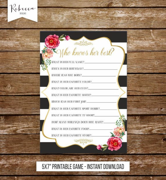 Who Knows Her Best Printable Birthday Game Bridal Shower Game
