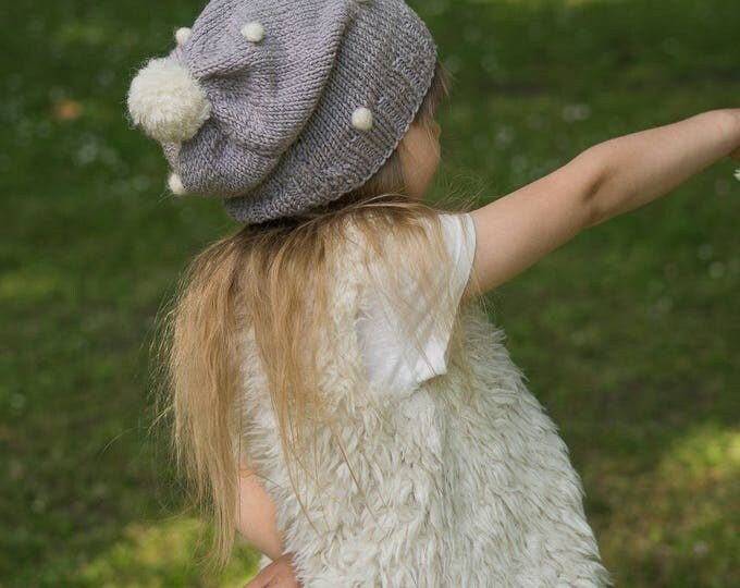 KNITTING PATTERN slouchy hat with crochet bobbles Elsa (toddler, child, woman sizes)