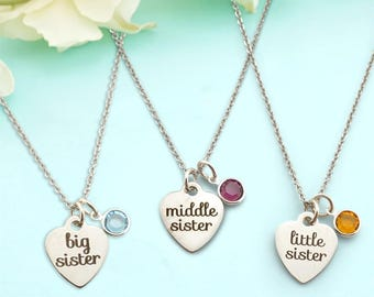 Sisters Jewelry - Big Sister Necklace - Middle Sister Necklace - Little Sister Necklace -  Sisters Bracelet - Gift for Sisters