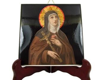 Catholic Saints - St Veronica Giuliani - decorative ceramic tile handmade in Italy - Saint Veronica - catholic saint