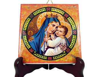 Catholic Church - Our Lady of Mount Carmel - catholic icon on tile - catholic craft - catholic art print - Virgin of Mount Carmel - Mary art