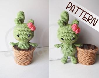 Cactalina cactus crochet PATTERN, removable pot, crochet amigurumi, crochet cactus doll, amigurumi cactus, cactus toy, handmade, pincushion