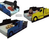 Truck twin kids bed frame - handcrafted - truck themed children's bedroom furniture -Cement, Concrete, Tow, Garbage, Cargo, Dump, Haul, Semi