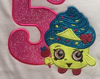 Personalized Shopkins Cupcake Queen Inspired Birthday Shirt!! Machine Embroidered and Appliqued!