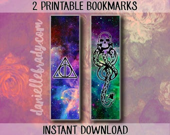 2 Printable Harry Potter Bookmarks Deathly Hollows Voldemort