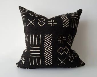 Authentic Mudcloth Pillow, Mali Bogolan, Black, Off-White, Multi-Pattern, Multi-Symbol