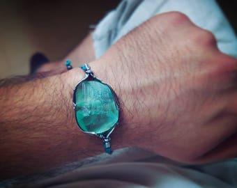 Fluorite bracelet wire wrapped in sterling silver