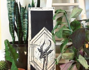 Hand Printed Gerenuk Linocut