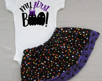 My First Halloween Outfit - my first boo, baby halloween costume, baby girl halloween, baby costume, first hallwoeen, purple black