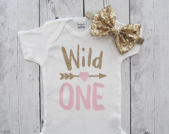 Wild One Birthday Onesie - tribal, arrow heart, gold glitter and pink, wild one shirt, first birthday shirt, wild one girl, gold bow