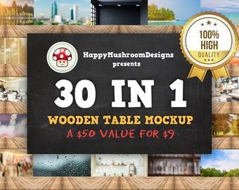HD Wooden Table Mockup
