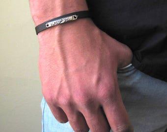 Mens Bracelet , Man Shema Israel Bracelet , Kabbalah Bracelet , Leather Bracelet , Jewish Bracelet , Hebrew Shema Israel ,