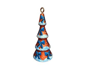 Copper Tree with Blue Bows Ornament