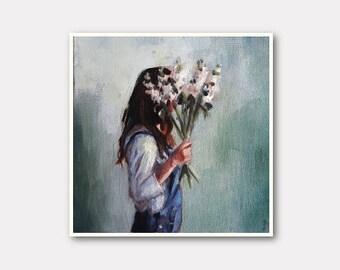 small girl print, girl painting , flower print, portrait print, bohemian print, small painting, tiny canvas, mini canvas, 4x4 print