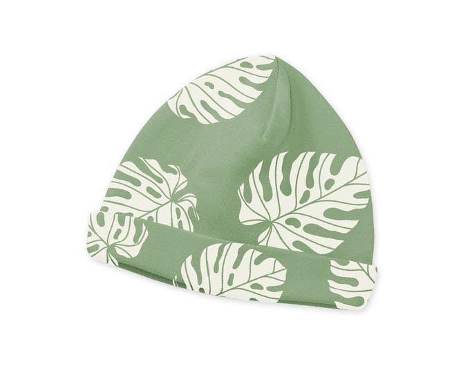 Newborn Baby Hat, Newborn Green Palm Baby Hat, Baby Hat for Girls, Infant Boy Beanies, Newborn Girl Beanies, Leaves, Tesababe CP630TL000000