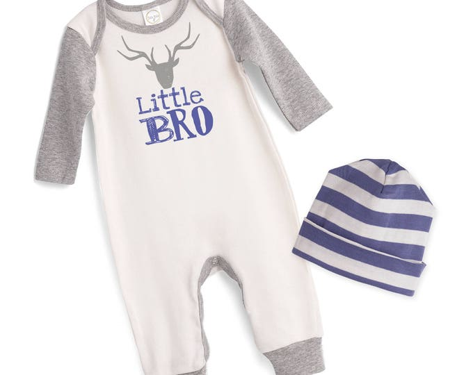 Little Bro Take Home Romper, Baby Boy Coming Home Romper, Baby Little Brother Bodysuit Hat, Little Bro Romper, TesaBabe