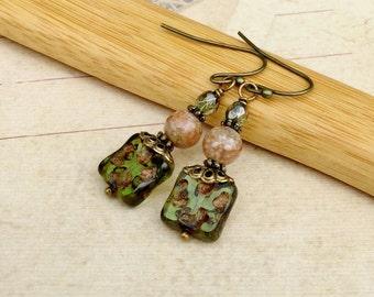 Olive Green Earrings, Green Earrings, Jasper Earrings,Gemstone Earrings,Czech Glass Beads, Jewelry Sets,Green Dangle Earrings, Gifts for Her