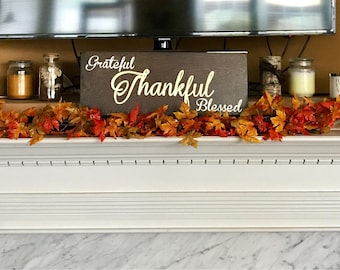 Grateful Thankful Blessed Birch Wood stained and hand painted Sign - thanksgiving - fall - autumn