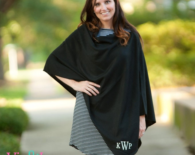 Featured listing image: Monogrammed Poncho | Gift for Her | Personalized Cape | Wrap | Shawl | Cloak