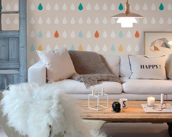 Self adhesive temporary removable wallpaper, accent wall - LATTE Rain drops - 008