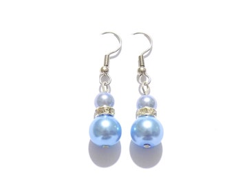 pearl earrings, blue earrings, dangle earrings, earrings, bridesmaid earrings, drop earrings