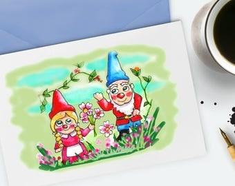 Gnome Card Watercolour Artist Birthday Card Greetings Card Cute Gnomes Gardeners Birthday Cards Thank you Card