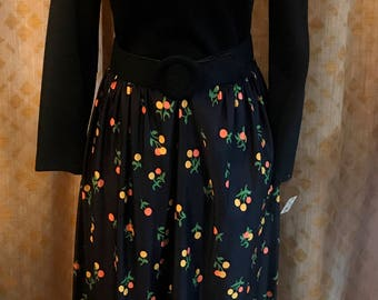 1970's Black and Floral Maxi Dress