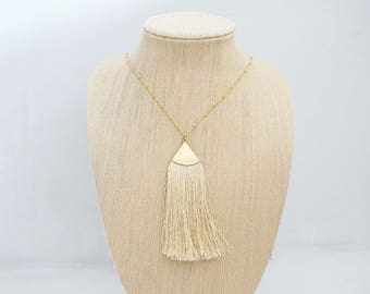 Ivory and Gold Long Tassel Necklace