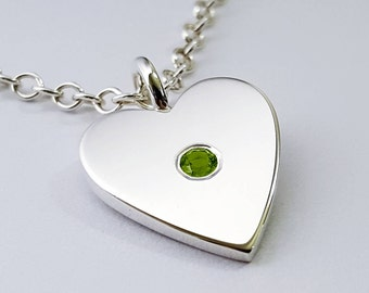 Peridot Heart Necklace Pendant in Sterling Silver - Sterling Heart Necklace, Sterling Silver Heart Necklace, Sterling Silver Heart Pendant