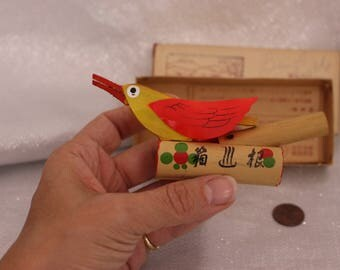 Vintage Bamboo Bird Whistle from Japan Original paperwork and box