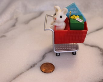 Vintage Bunny in a Shopping Basket Christmas Ornament hanging ornament by Hallmark 1989