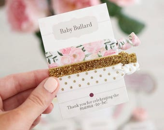 Floral Baby Shower Favors Girl, Unique Baby Shower Favors, Hair Tie Favors Baby Shower, Floral Baby Shower Decorations Pink and Gold