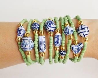 10 Porcelain bracelets - green Friendship Bracelets - Boho Chic Summer - porcelain beads - layering bracelets - beaded bracelets - bohemian