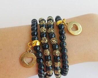 beaded bracelet stretchy, stone beads, black bracelet set, stretch bracelet, layering bracelets, stretchy bracelets, gifts under 50, boho