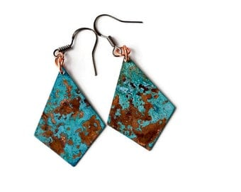 Mismatched Copper and Patina Geometric Earrings, Turquoise earrings, copper boho earrings, antiqued copper earrings, rustic copper earrings