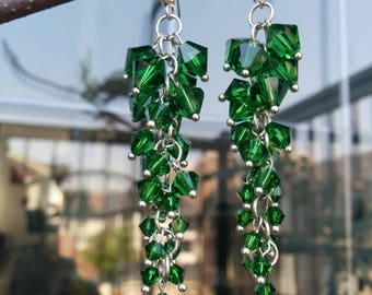 Green Swarovski Crystal Dangling  Earrings