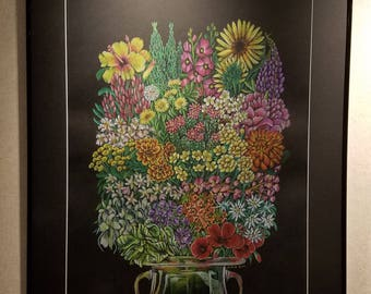 Class Bouquet (Stronger Together) - Framed 24x30 Colored Pencil Drawing