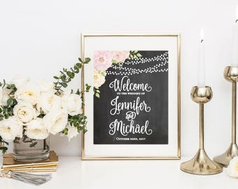 Printed Wedding Welcome Sign, Rustic Welcome Wedding Sign, Welcome Wedding Sign, Rustic Wedding Sign, Wedding Sign, Reception Sign #CL170