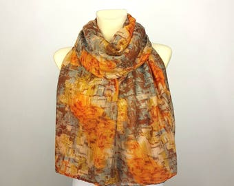 Large Africa Print Shawl Brown Orange Scarf Women Long Boho Scarf Spring Scarves for Woman Bohemian Scarves Gifts for Mom Gift Mothers Day